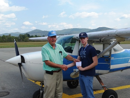 Examiner, Don Judy, with new Private Pilot, Andrew Dowdy,